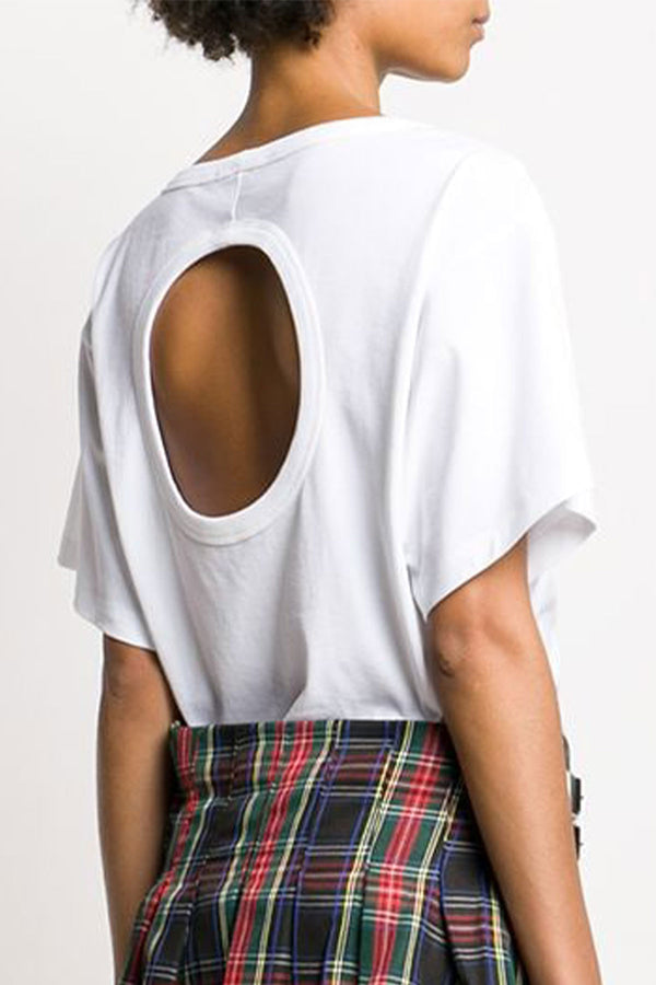 High Twist Jersey Short Sleeve Open Back Top White