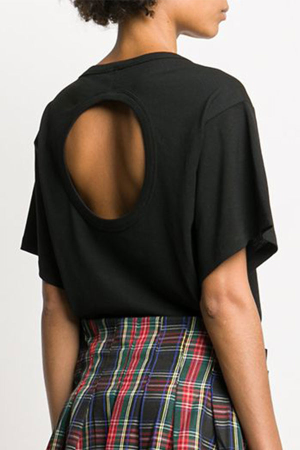 High Twist Jersey Short Sleeve Open Back Top Black