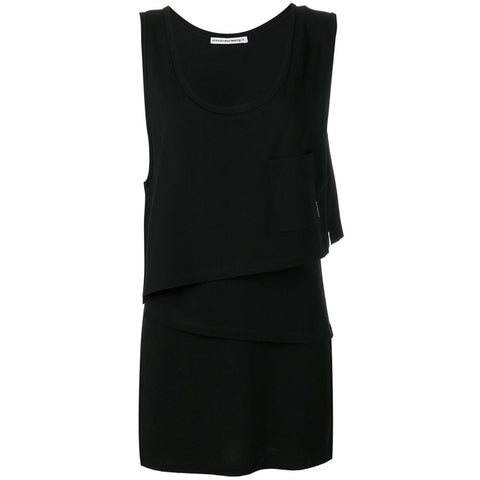 High Twist Jersey Layered Muscle Dress Black