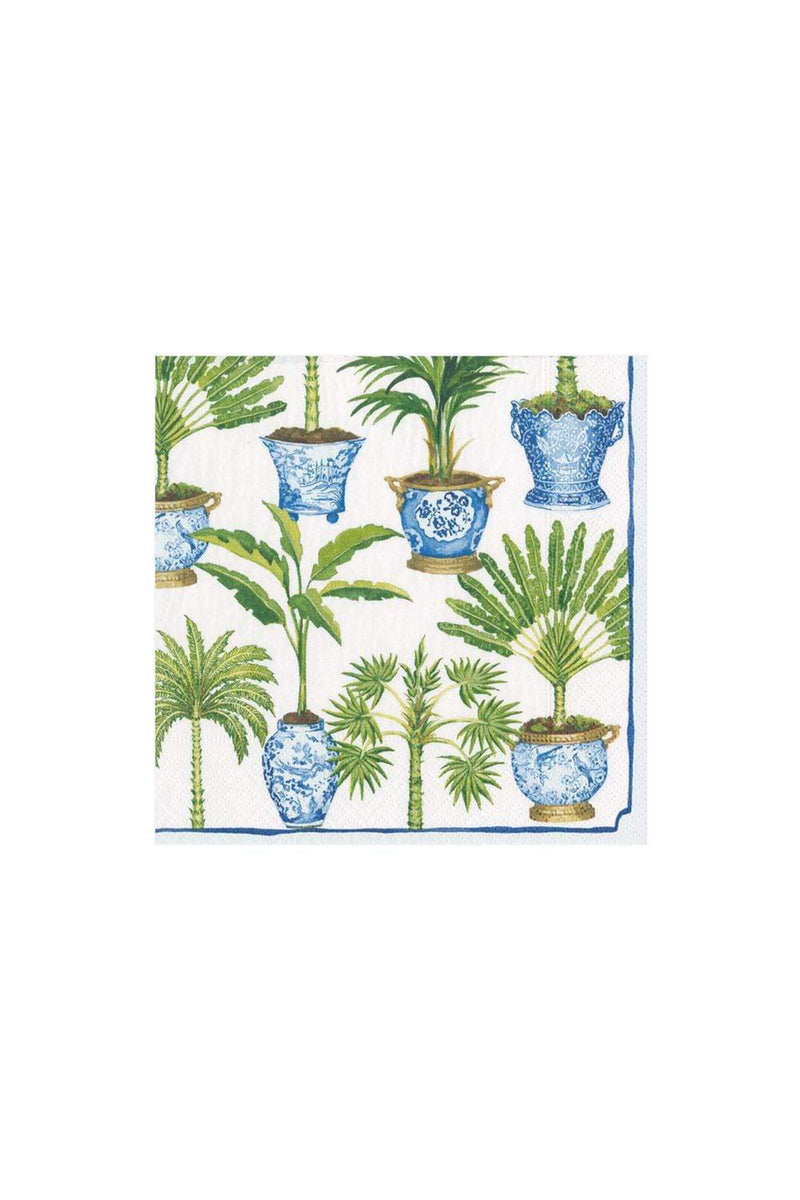 Potted Palms Paper Cocktail Napkins in White