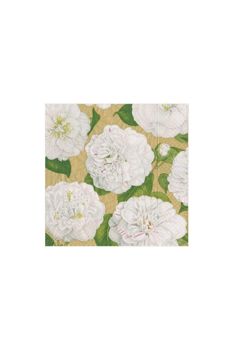 Camellia Garden Paper Cocktail Napkins in Gold