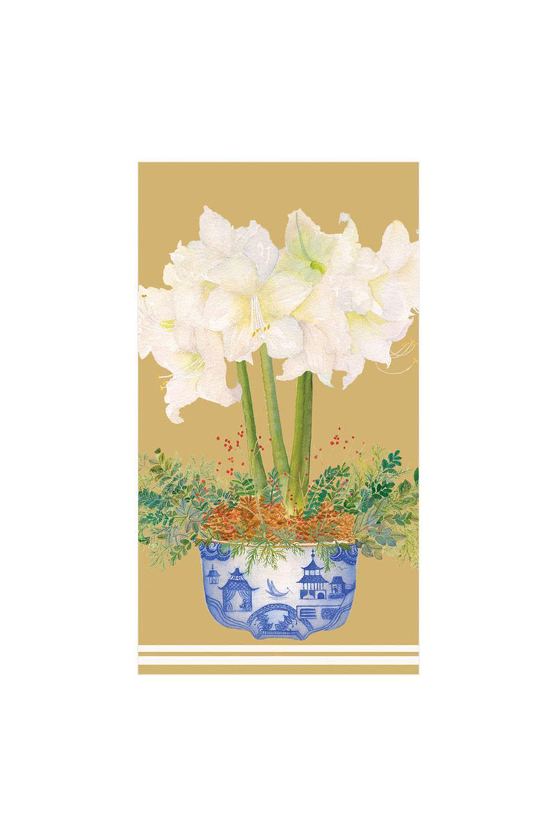 Potted Amaryllis Paper Guest Towel Napkins in Gold