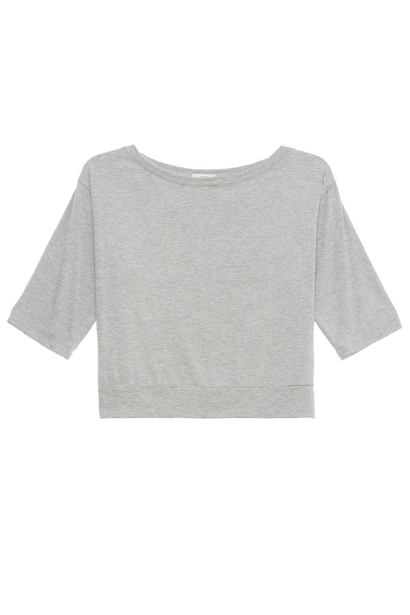 Darby Utility Short Sleeve Top Heather Grey