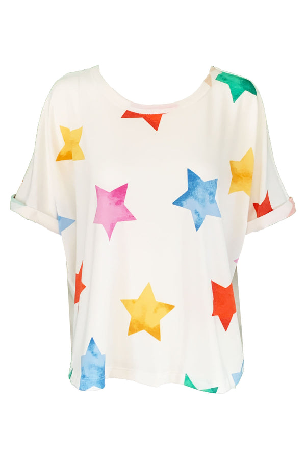 Multi Color Star Print Short Sleeve Top