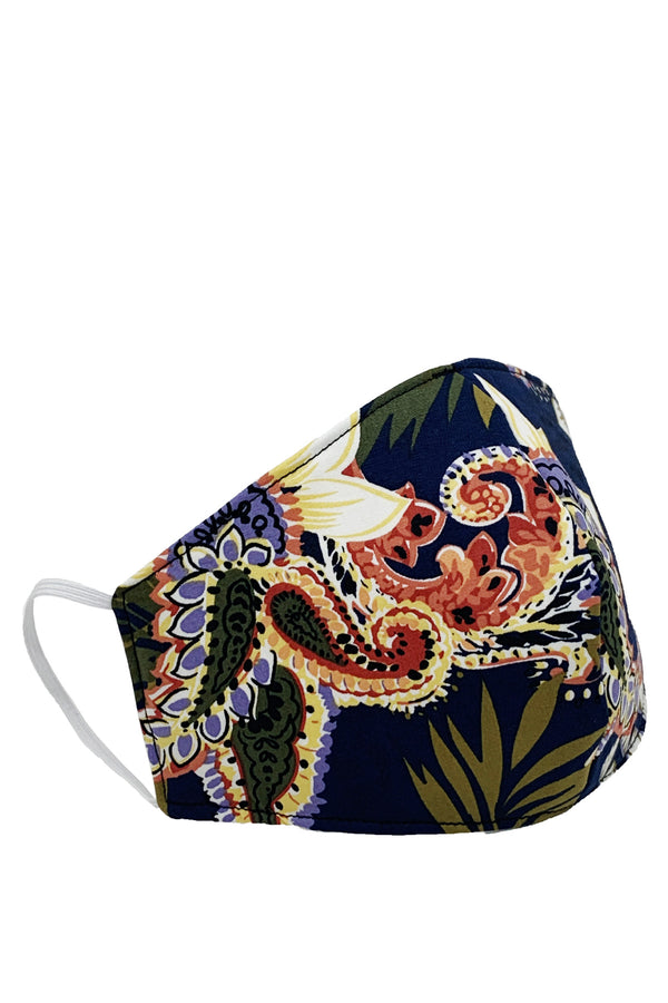 Face Mask Navy Paisley