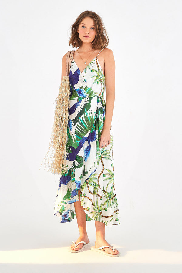Mixed Palm Wrap Dress