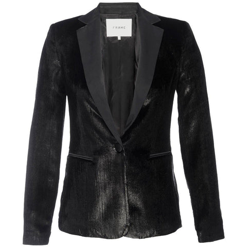 Metallic Satin Blazer Noir