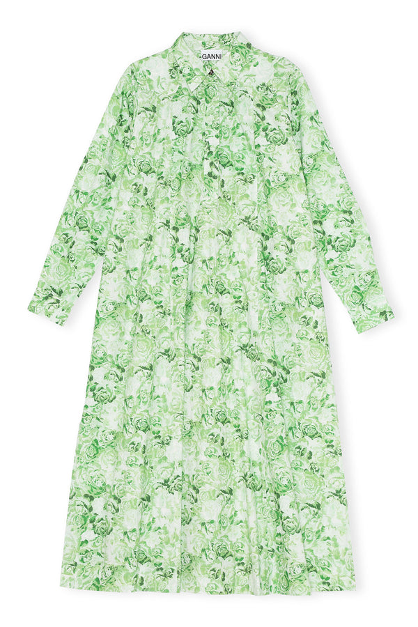 Printed Cotton Poplin Maxi Dress Island Green
