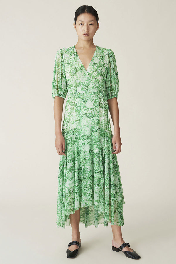 Printed Mesh Wrap Dress Island Green