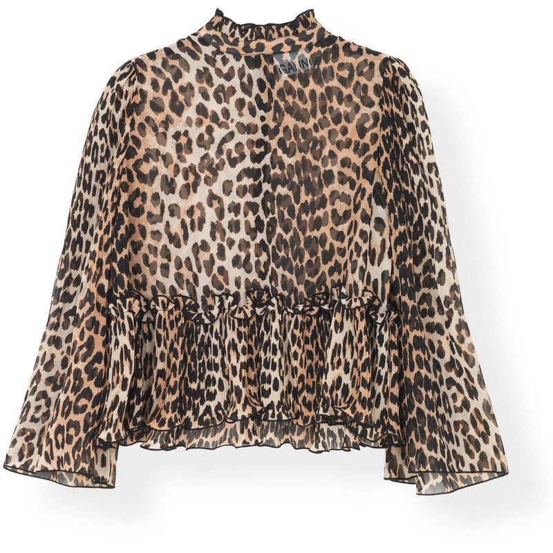 Pleated Georgette Blouse Leopard