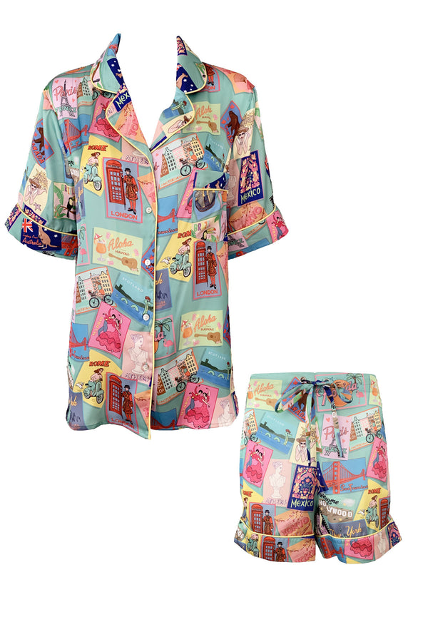Postcard Poly Satin Short PJ Set