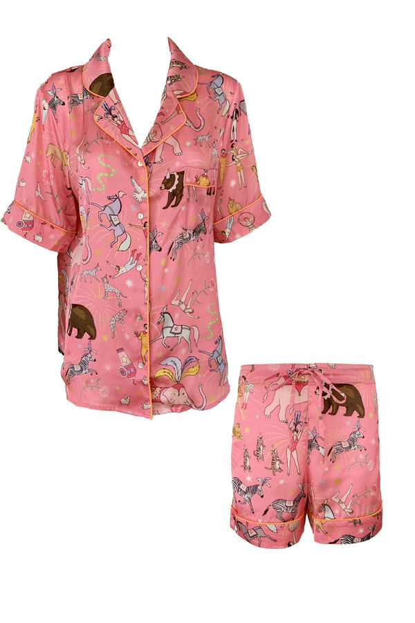 Circus Pink Poly Satin Short PJ Set