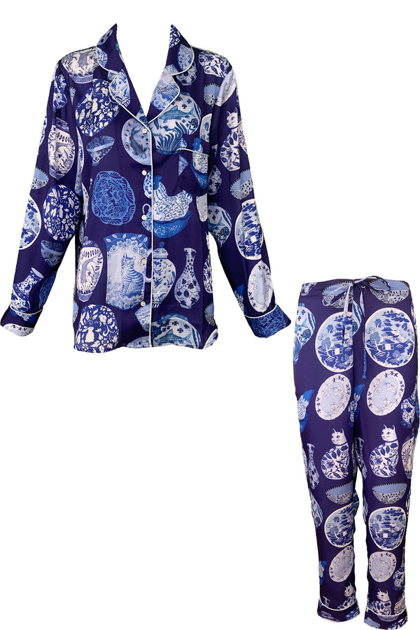 Pottery Blue Poly Satin Long PJ Set