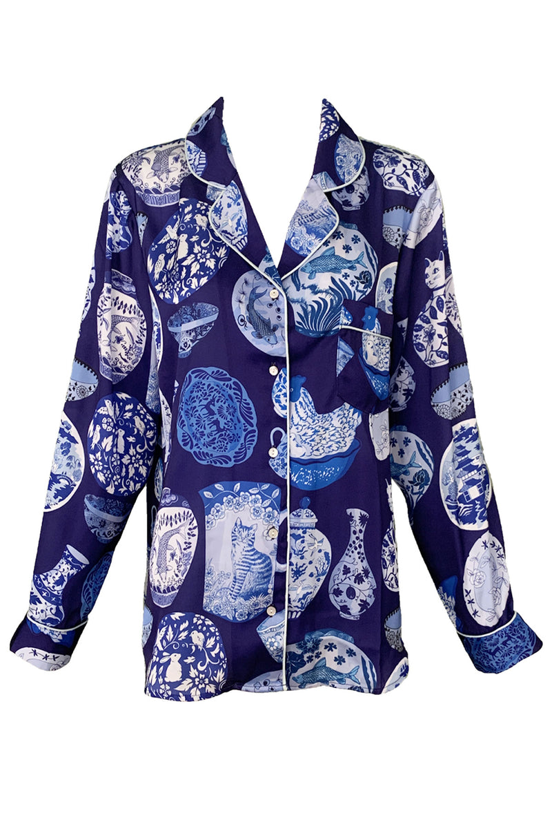 Pottery Blue Poly Satin Long Sleeve Shirt