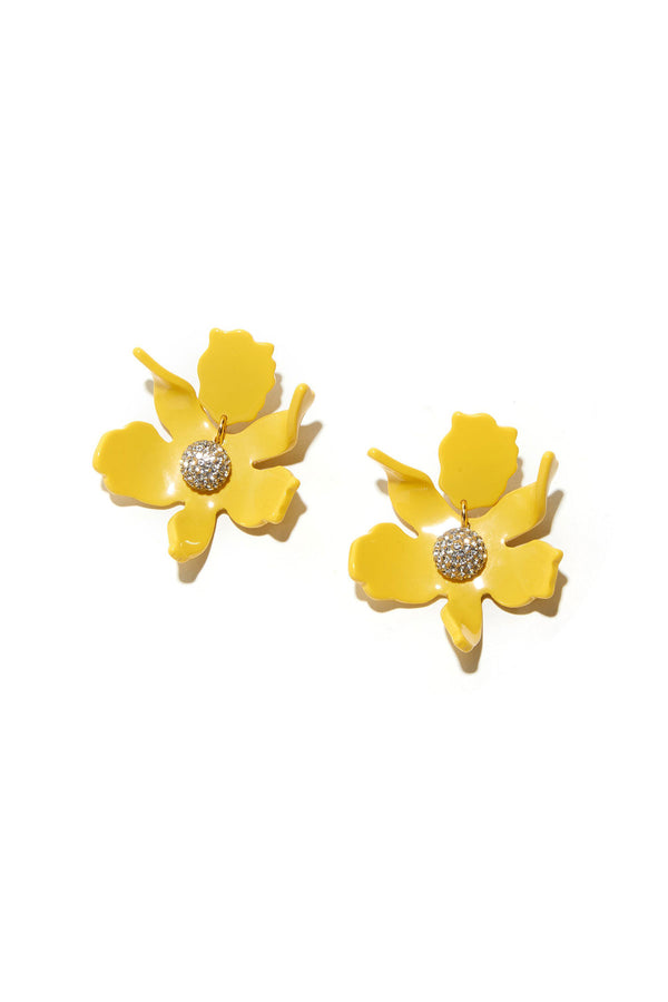 Small Crystal Lily Earring Yellow