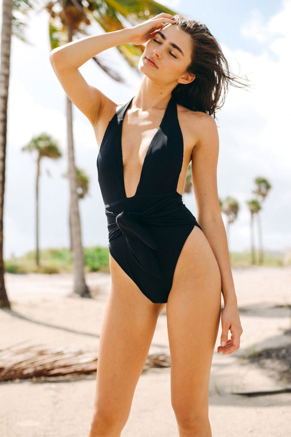 Black Rib Tropez Tie-Up One-Piece