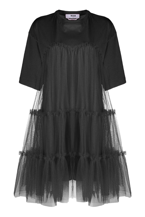 Gathered Tulle T-Shirt Dress Black