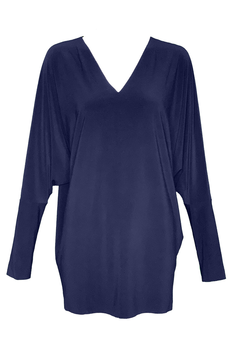 Long Sleeve V-Neck Dolman Top in Midnight