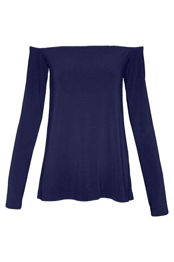 Long Sleeve Off Shoulder Top in Midnight