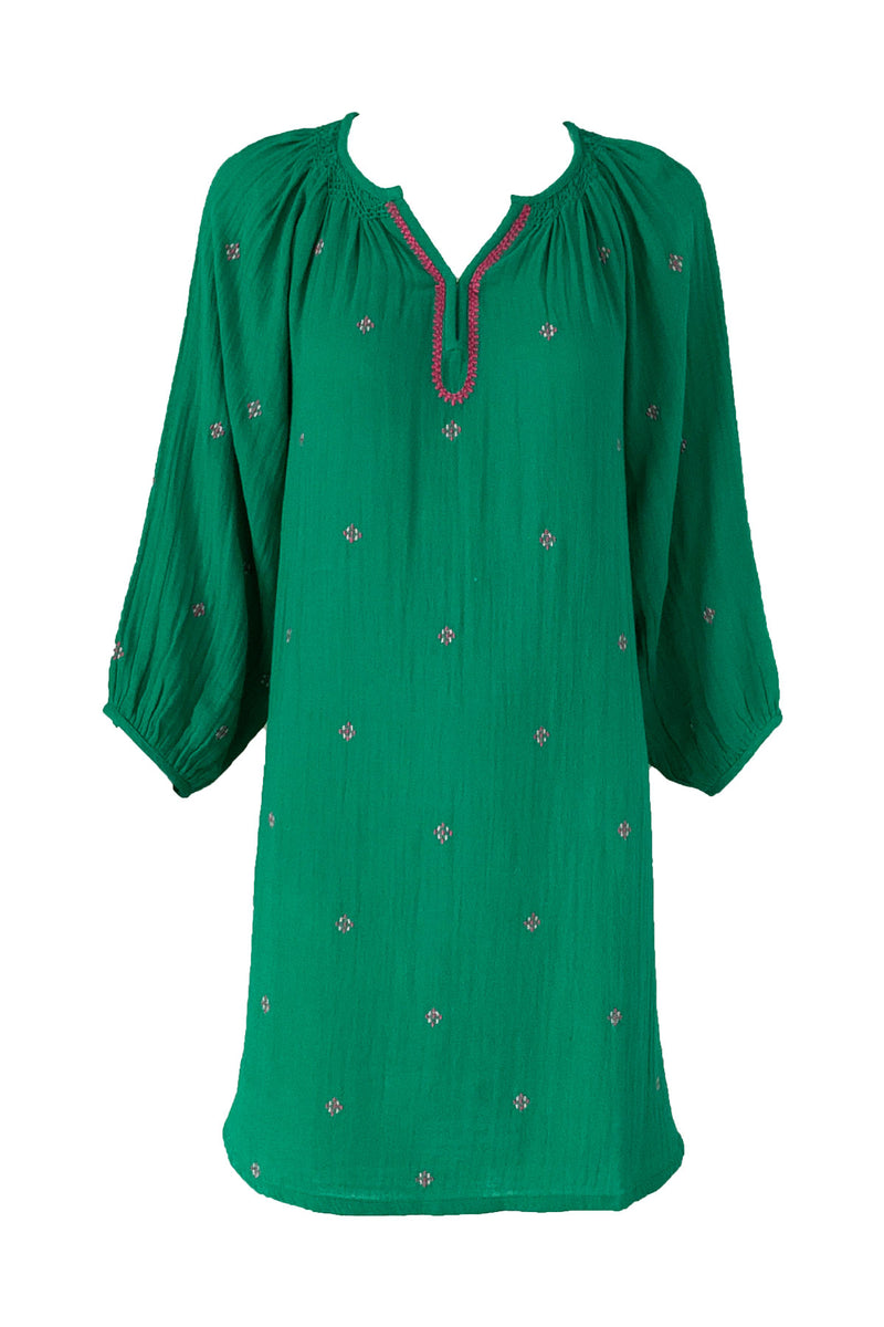 Ava Dress Bosphorous Green with Embroidery