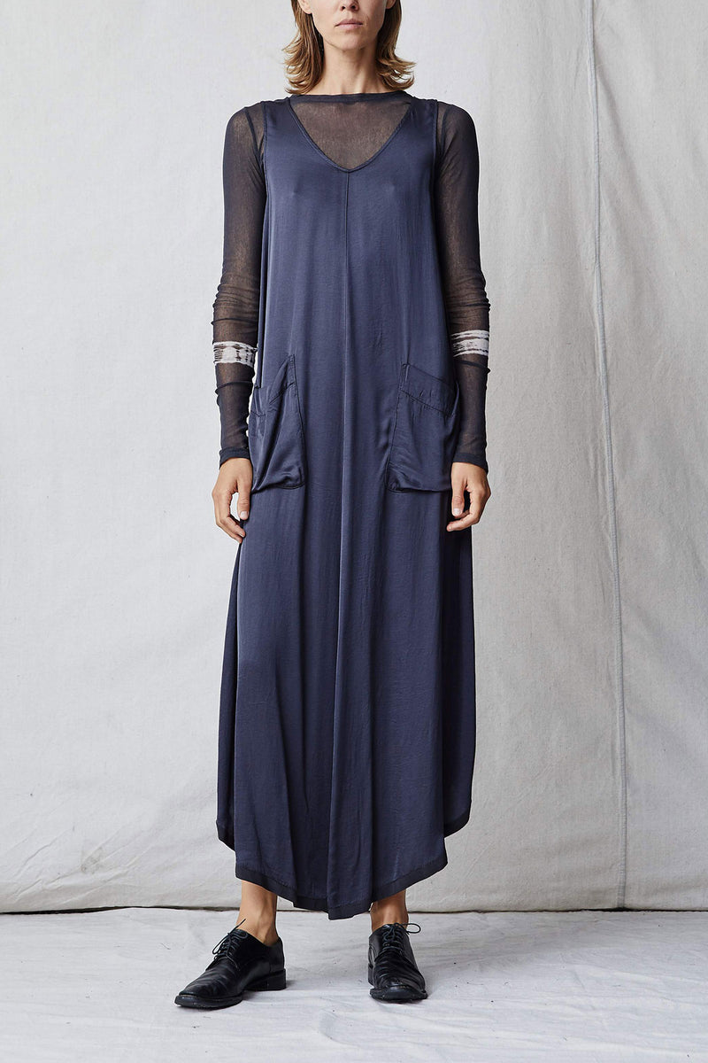Slate Matte Satin Grosgrain Maxi Dress