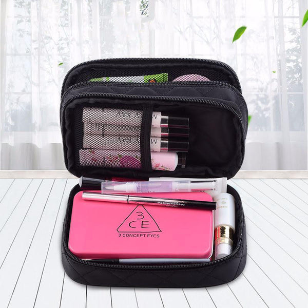 Woman Double Layer Large Cosmetic Bag