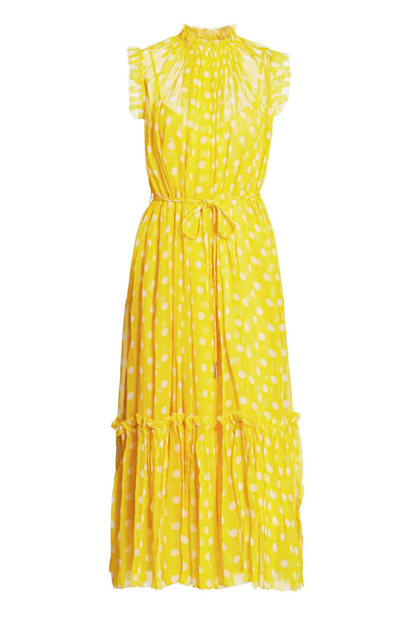 Brightside Frilled Midi Dress Sunflower Pearl Dot