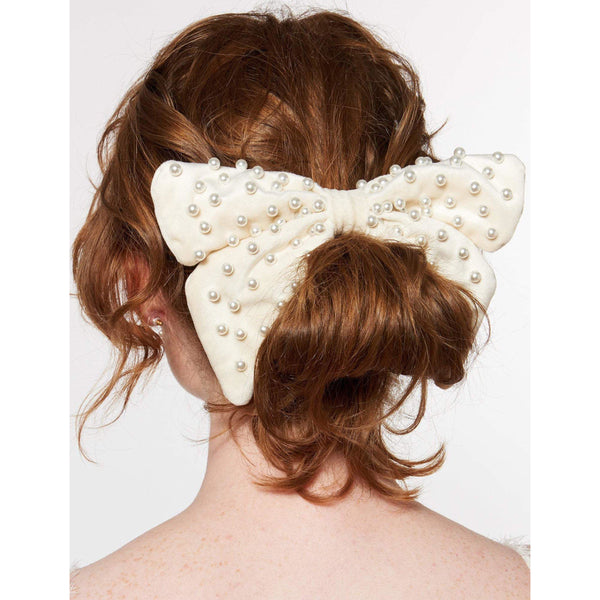 ACCESSORIES - Embellished Bow Barrette Ivory