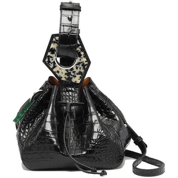 ACCESSORIES - Leather Small Drawstring Bag Black
