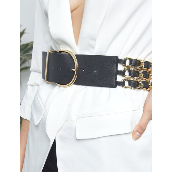 ACCESSORIES - Yasmin Black Gold Belt