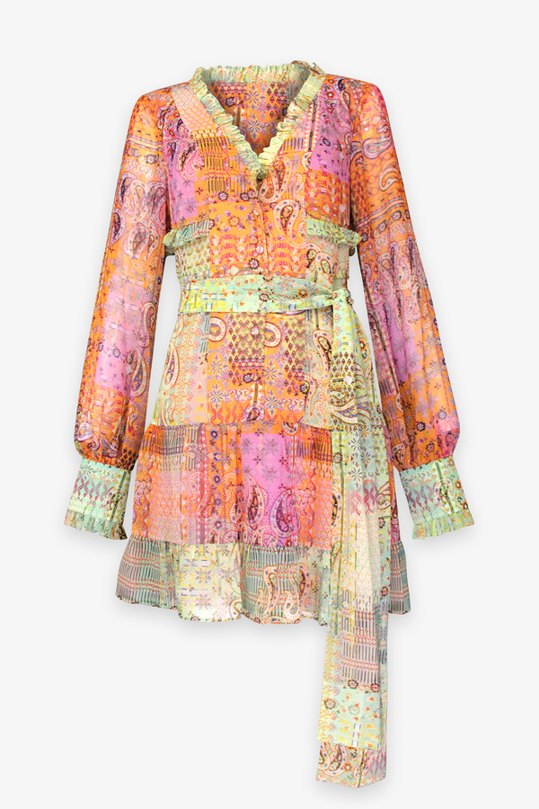 Sabrine Mini Dress in Sunset Paisley