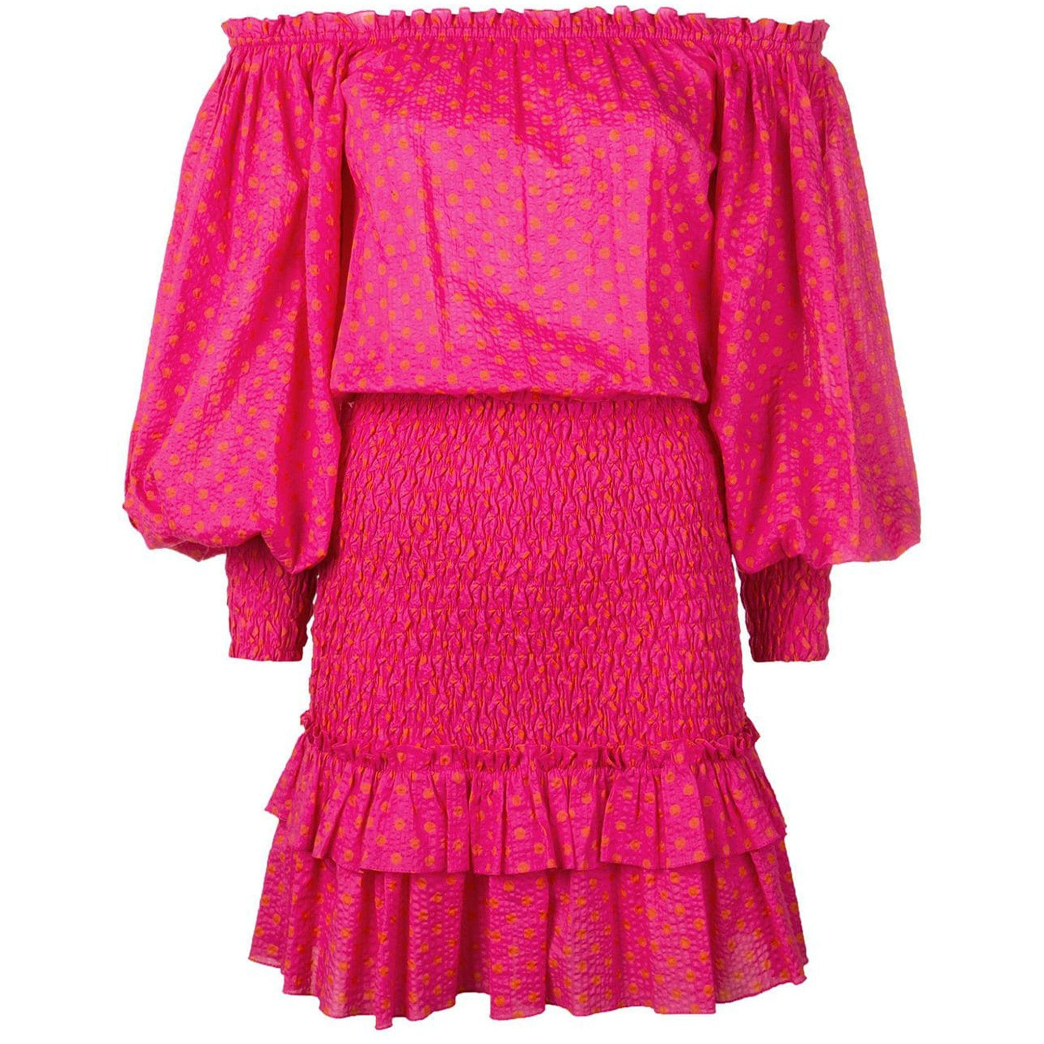 Marilena Fuchsia Dot Dress