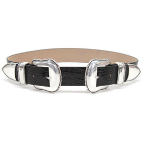 Rouge Croco Black Silver Belt
