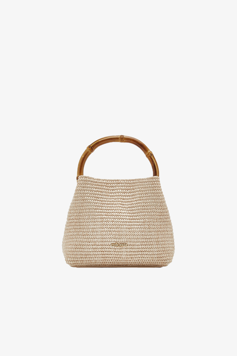 Solene Mini Top Handle Bag in Cream