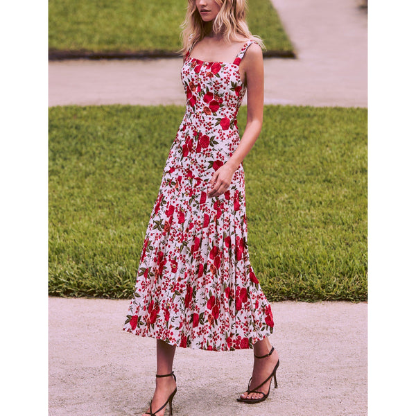 CLOTHING - Amal Dress Red Embroidery