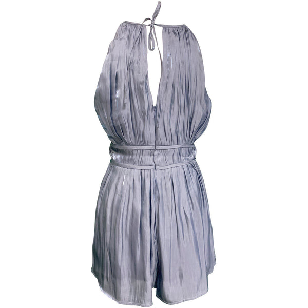 CLOTHING - Anyway You Want It Surplice Halter Romper Blue