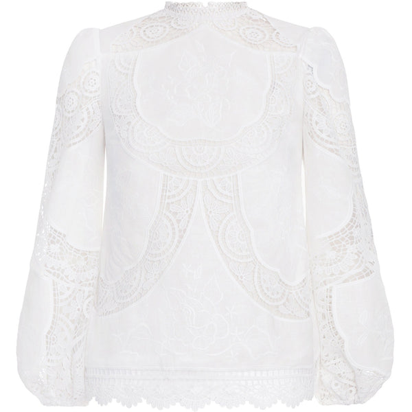 CLOTHING - Bonita Crochet Embroidery Top Ivory