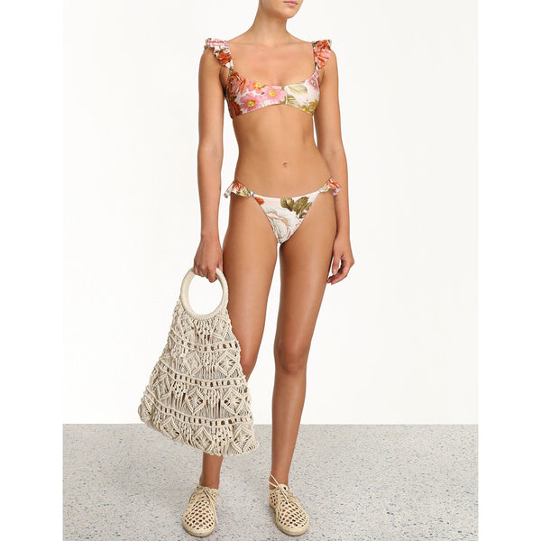 CLOTHING - Bonita Frill Shoulder Bikini Cream Floral