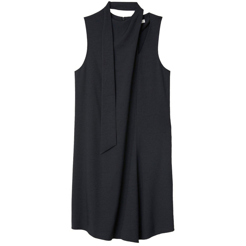 CLOTHING - Chalky Drape Pleat Neck Shift Dress Black