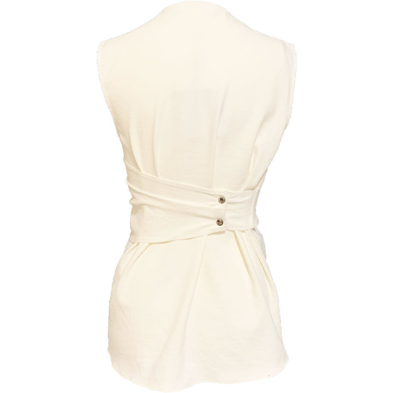 CLOTHING - Chalky Drape Shirred Sleeveless Top Ivory