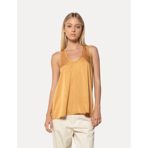 CLOTHING - Crash Satin Back Crossed Top Oro