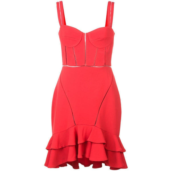 CLOTHING - Crepe Combo Mini Ruffle Dress Red