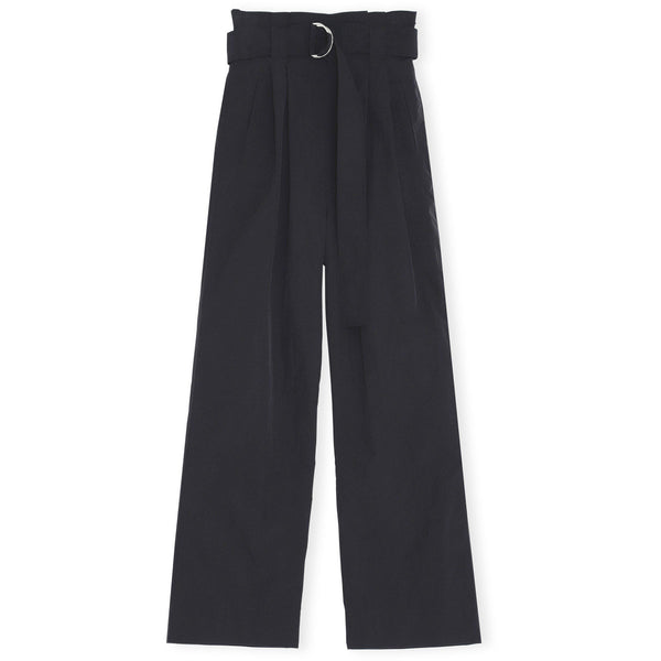 CLOTHING - Crinkled Tech Belt Pants Black
