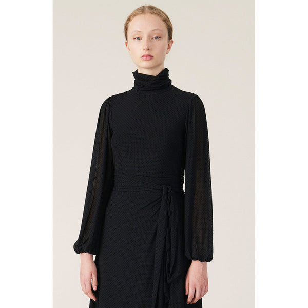 CLOTHING - Dot Mesh Rollneck Black
