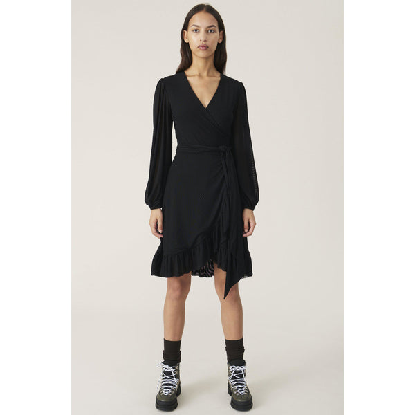 CLOTHING - Dot Mesh Wrap Dress Black