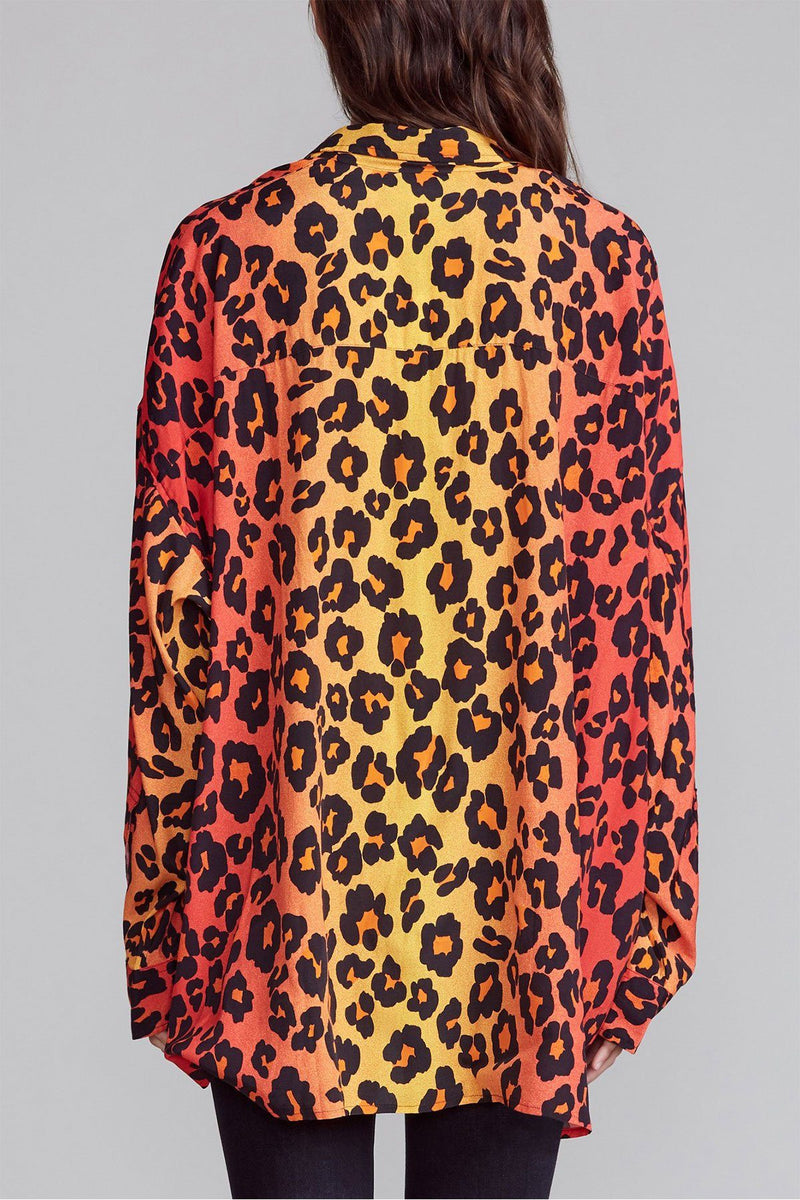 CLOTHING - Drop Neck Shirt Ombre Leopard