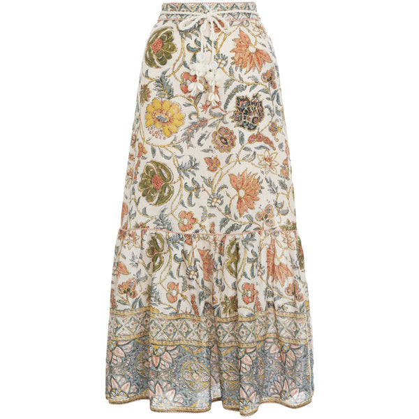 CLOTHING - Edie Long Skirt Cream Paisley