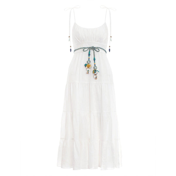 CLOTHING - Edie Tiered Sun Dress Ivory