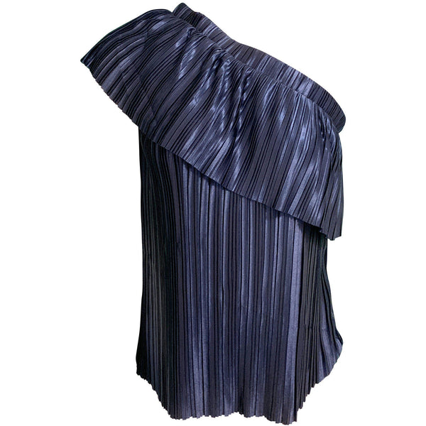 CLOTHING - Evie Pleated One Shoulder Top Navy