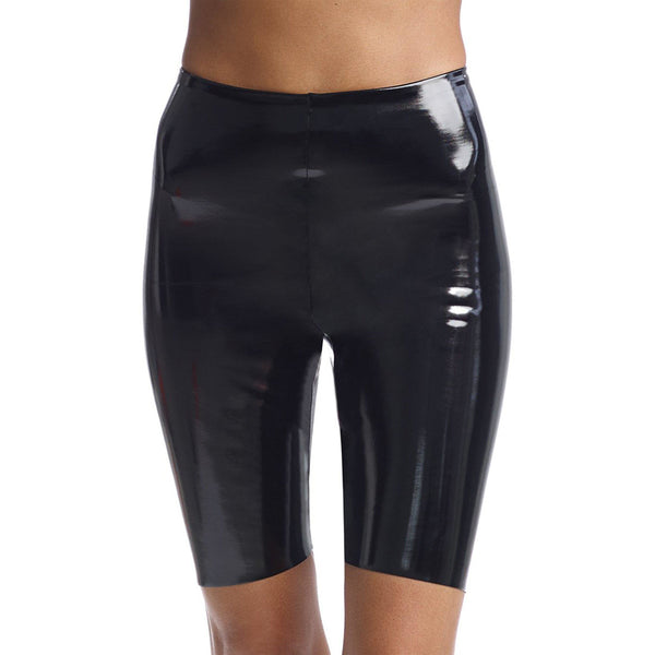 CLOTHING - Faux Patent Leather Bike Short With Perfect Control Black